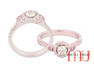Argyle pink and white diamond engagement ring.
