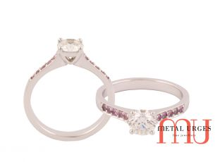 Diamond engagement rings melbourne 4 claw solitaire with pink sapphires