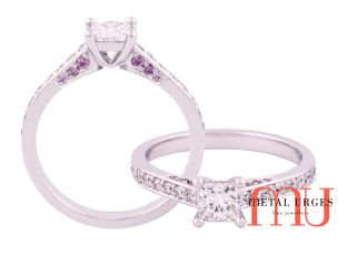 Princess cut engagement ring with Australian Argyle pink diamond detail in 18ct white gold.