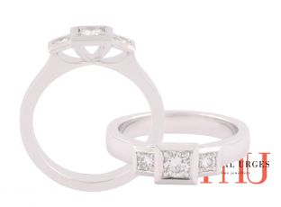 Square shape three stone bezel set white diamond in 18ct white gold