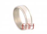 Polished and brushed white gold wedding ring. Custom made in Australia.