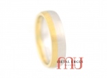 Matte 18ct white and yellow gold wedding ring. Custom made in Australia.