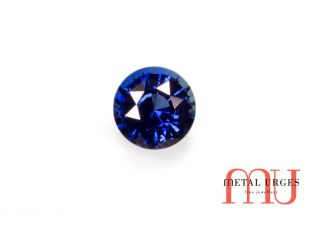 Natural deep blue sapphire, round brilliant cut