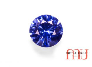 Natural blue sapphire, round brilliant cut