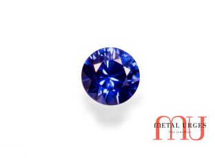 Blue natural sapphire, round brilliant cut