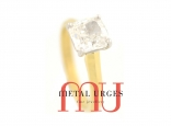 White diamond engagement ring in 18ct yellow gold. Custom made in Australia.