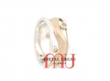 Mokume Gane and champagne diamond ring. Custom made in Australia.