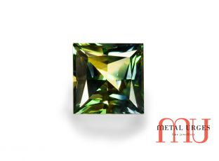 Green and yellow princess cut parti sapphire