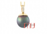 Tahitian black green drop pearl and white diamond pendant in 18ct yellow gold. Custom made in Tasmania Australia.