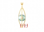 Green pearl and 18ct yellow gold pendant. Custom made in Tasmania, Australia.