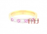 Pink diamond and 18ct gold wedding ring. Custom made in Australia.