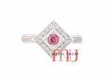 Rare Australian Argyle pink diamond ring with white diamonds, set in platinum. Custom made in Australia.