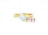 Princess cut white diamond engagement ring in 18ct white and yellow gold. Custom made in Hobart.