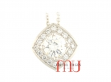 Round brilliant cut white diamond cluster pendant. Custom made in Australia.