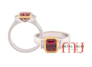 Australia Ruby set by a yellow gold bezel with side diamond baguettes, Jewellery Hobart