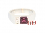 Unusual purple red emerald cut African ruby and white diamond sushi box ring. Handmade in 18ct white gold.