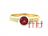 Ruby and white diamond engagement ring in 18ct white and yellow gold. Custom made in Australia.