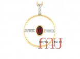 Ruby and round white diamond pendant in 18ct yellow gold. Custom made in Australia.