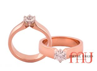 Round brilliant cut white diamond six claw set in 18ct rose gold