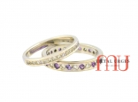 Diamond and purple sapphire 18ct white gold wedding rings. Custom made in Australia.