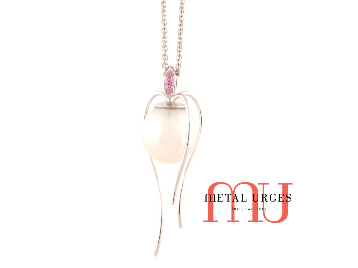 Pink diamond and white pearl 18ct white gold pendant. Custom made in Australia.