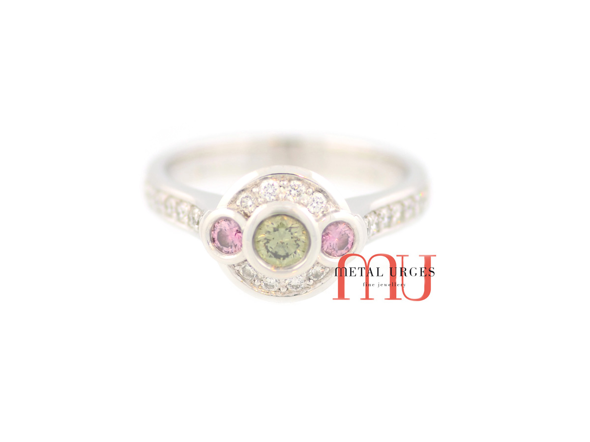 Green and Australian Argyle pink diamond engagement ring in platinum. Custom made in Australia.