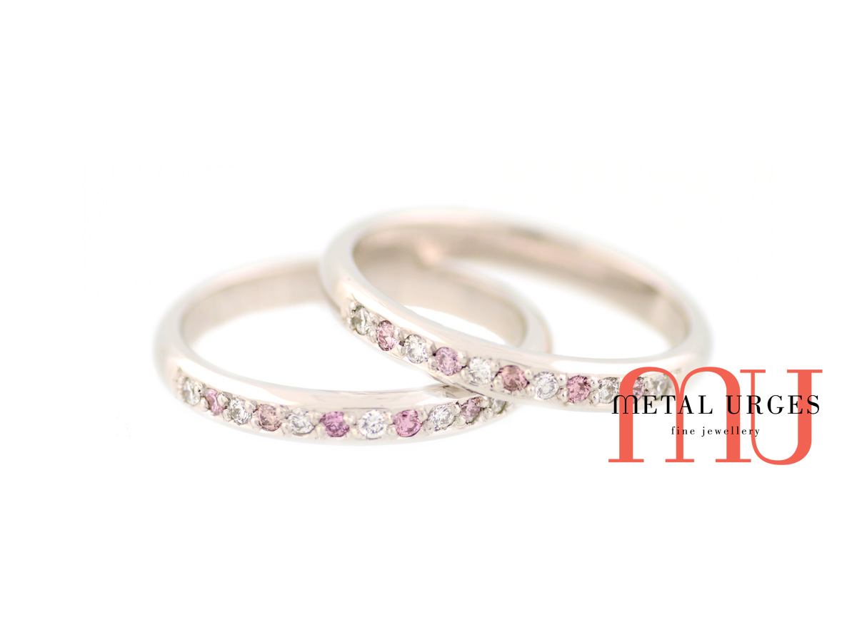 Pink Australian Argyle and white diamond 18ct white gold twin