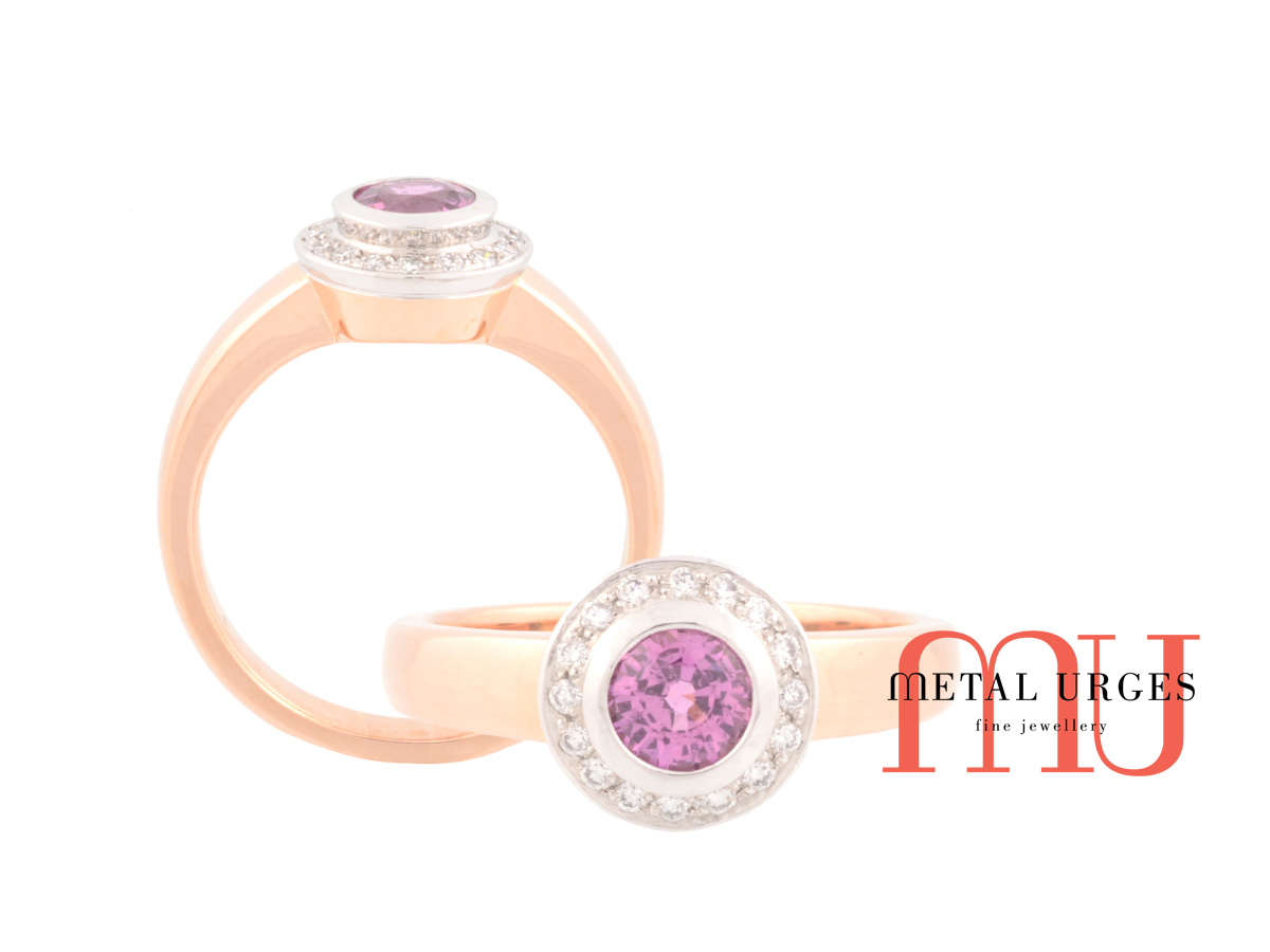Unique pink sapphire and white diamond 18ct gold engagement ring. Custom made in Australia.