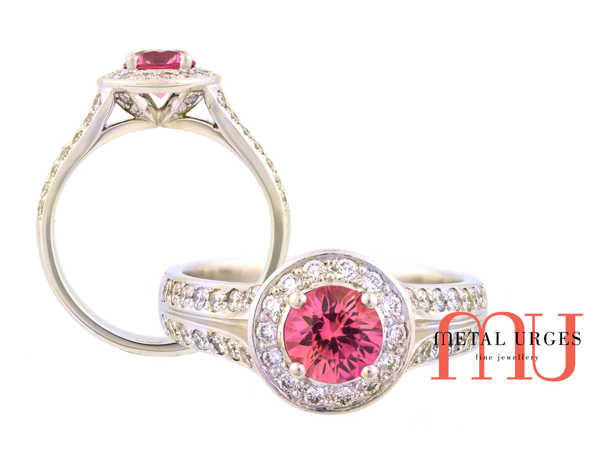 Vibrant pink sapphire and diamond, platinum engagement ring. Custom made in Australia.