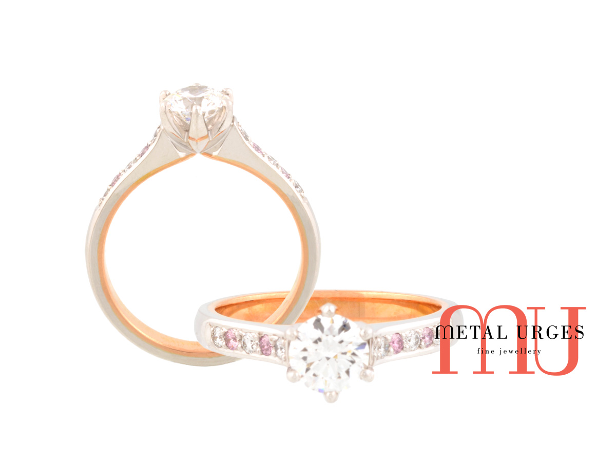 Argyle pink diamond engagement ring 18ct white and rose gold. Made in Hobart, Tasmania by the skilled Jewellers of Metal Urges Fine Jewellery
