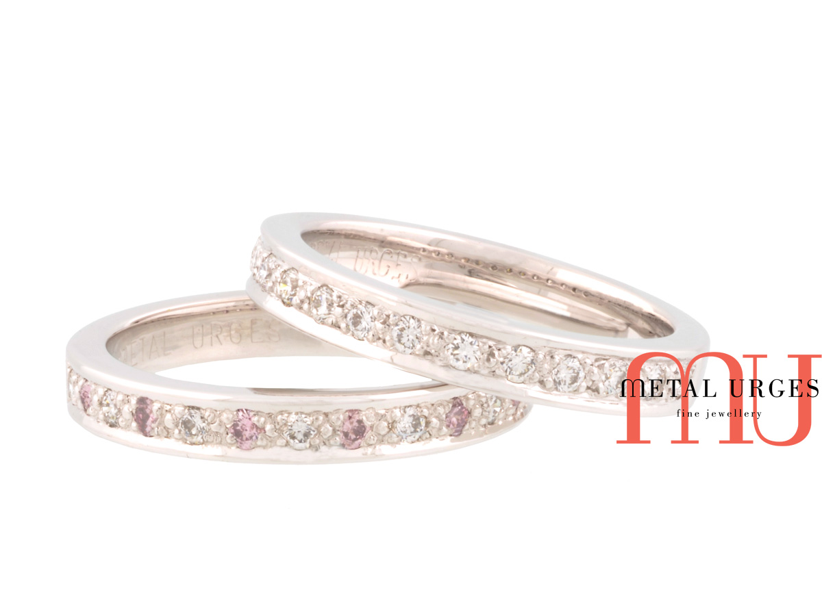 Pink Australian Argyle and white diamond platinum wedding rings.Custom made in Australia.