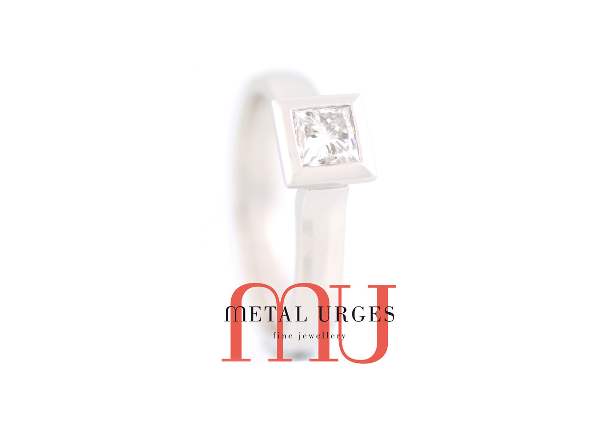 Princess cut white diamond engagement ring in 18ct white gold.  Custom made in Hobart.