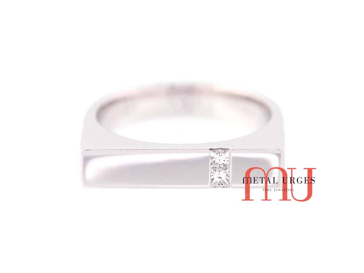 Princess cut white diamond engagement ring with a square head in 18ct white gold ring. Custom made in Australia.