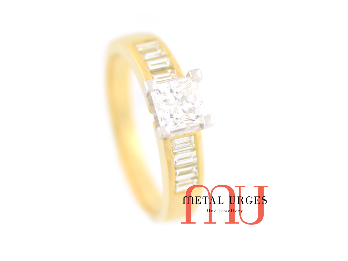 1ct white diamond engagement ring in 18ct yellow gold and platinum. Featuring princess cut and baguette white diamonds. Custom made in Australia.