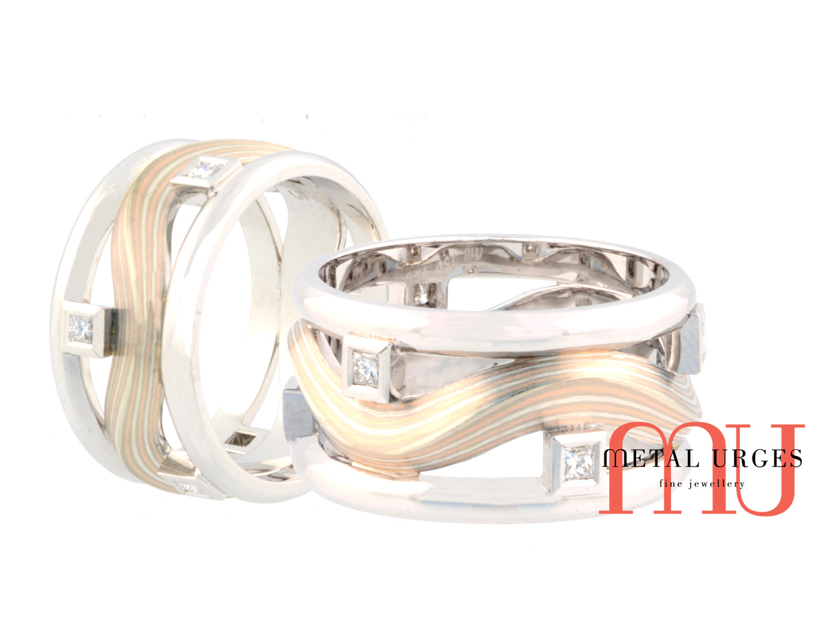 Princess cut white diamond and mokume gane ring in 18ct white and rose gold. Custom made in Australia.