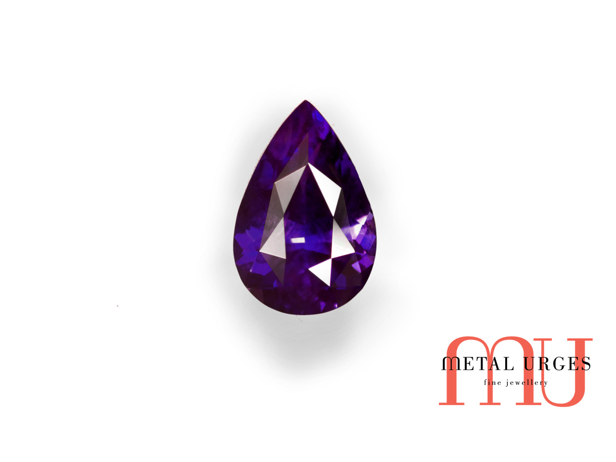 Pear cut natural purple sapphire
