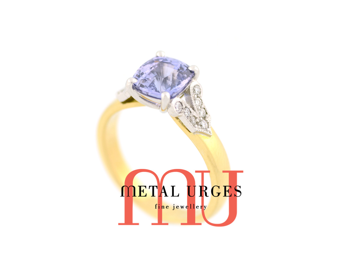 Antique lavender sapphire and white diamond engagement ring in 18ct white and yellow gold. Custom made in Australia.