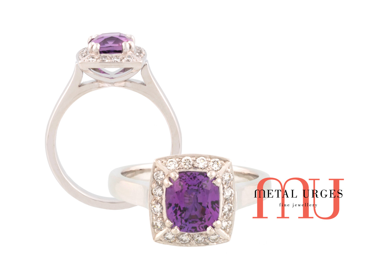 Purple sapphire and white diamond engagement ring in 18ct white gold. Custom made in Australia.
