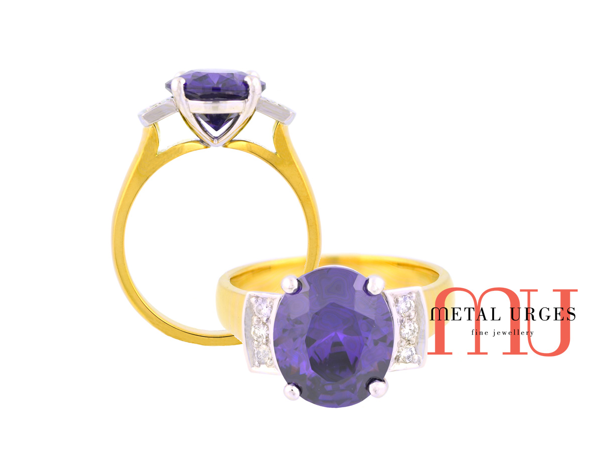 Purple sapphire and white diamond 18ct gold ring. Custom made in Australia.