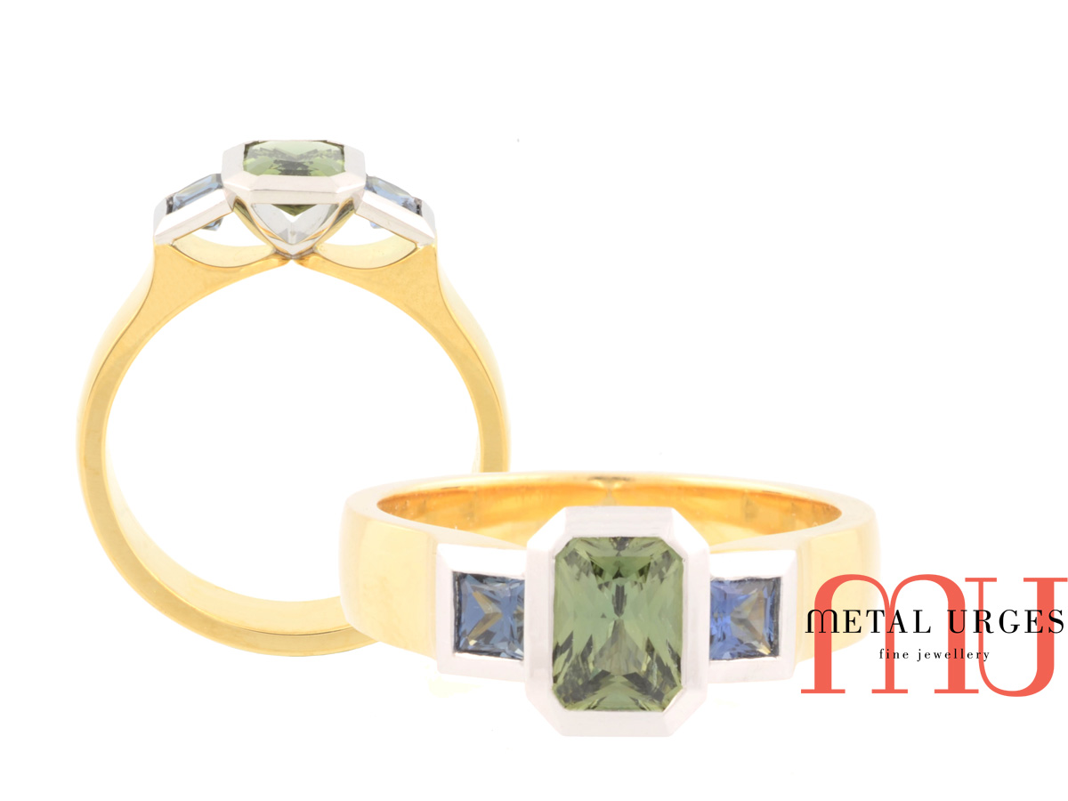 Green sapphire and 18ct gold engagement ring. Custom made in Australia.
