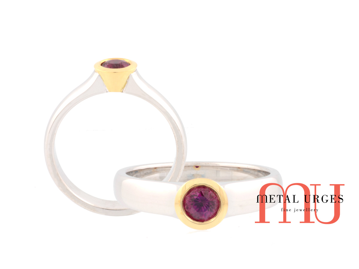 Round brilliant ruby engagement ring in 18ct white and yellow gold.  Custom made in Australia.