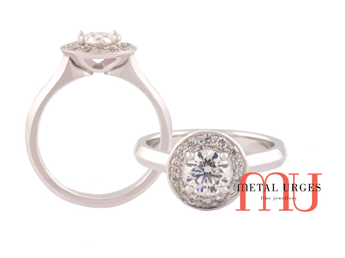White diamonds in white gold designer cluster engagement