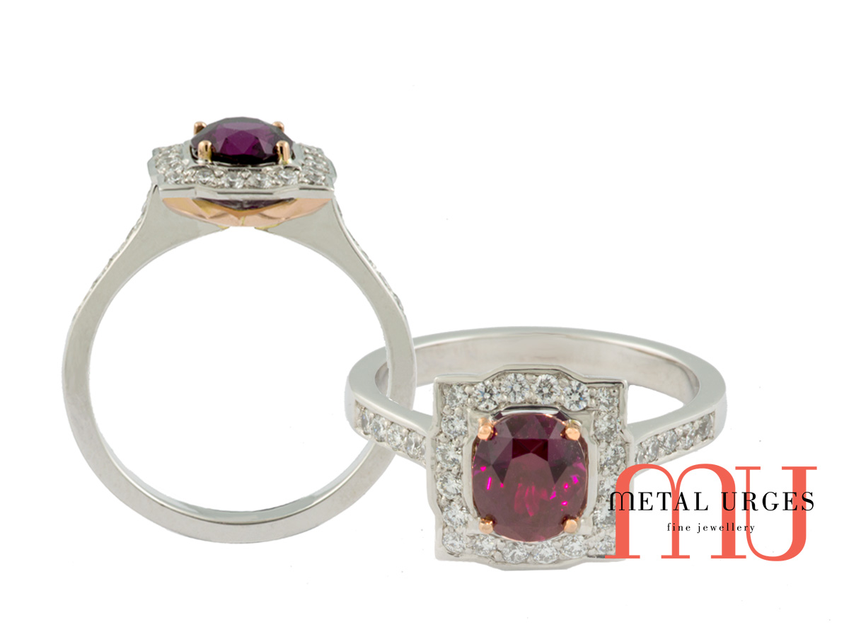 Square cluster Ruby engagement rings Melbourne