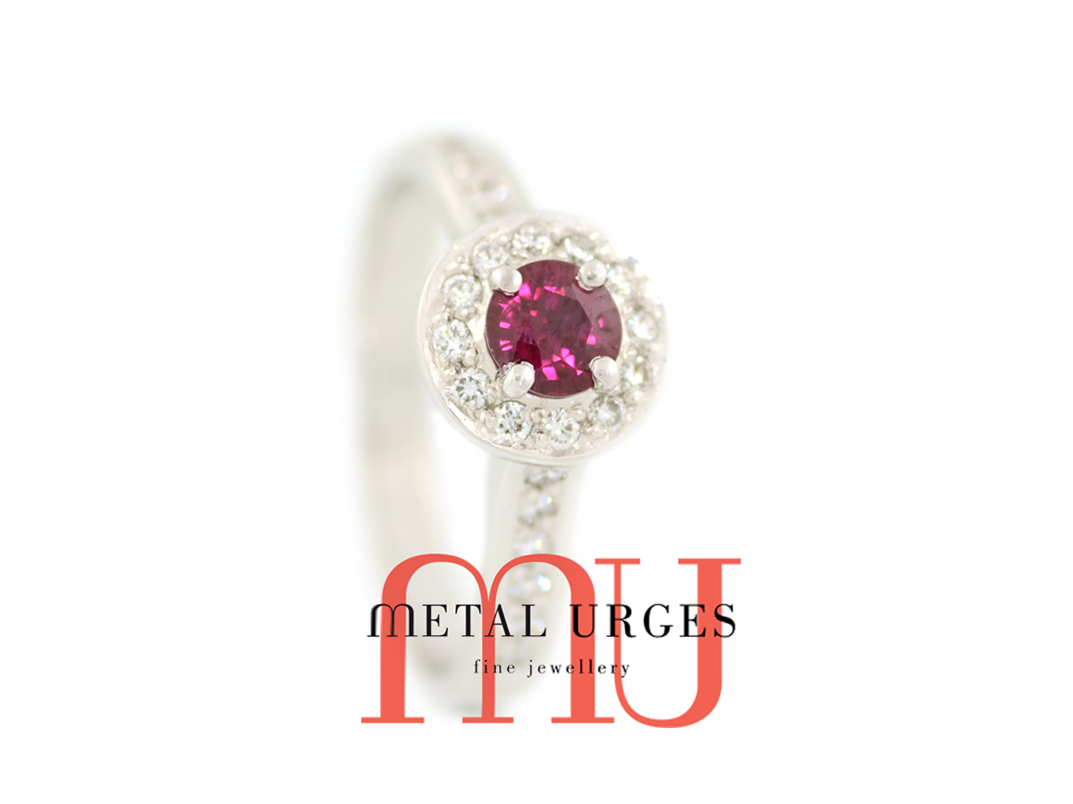 Ruby and diamond modern cluster engagement ring in 18ct white gold. Custom made in Australia.