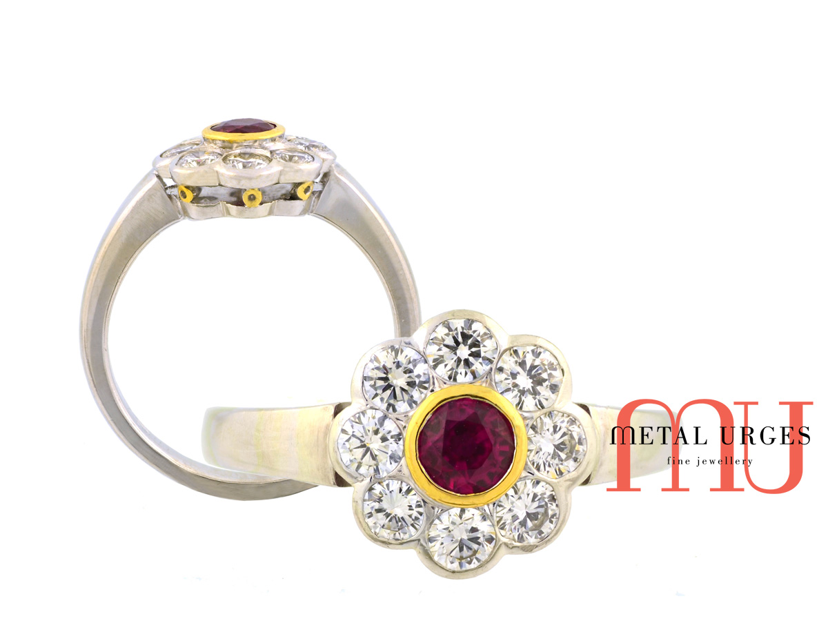 Antique inspired ruby and diamond classic cluster engagement ring. Custom made in Australia.