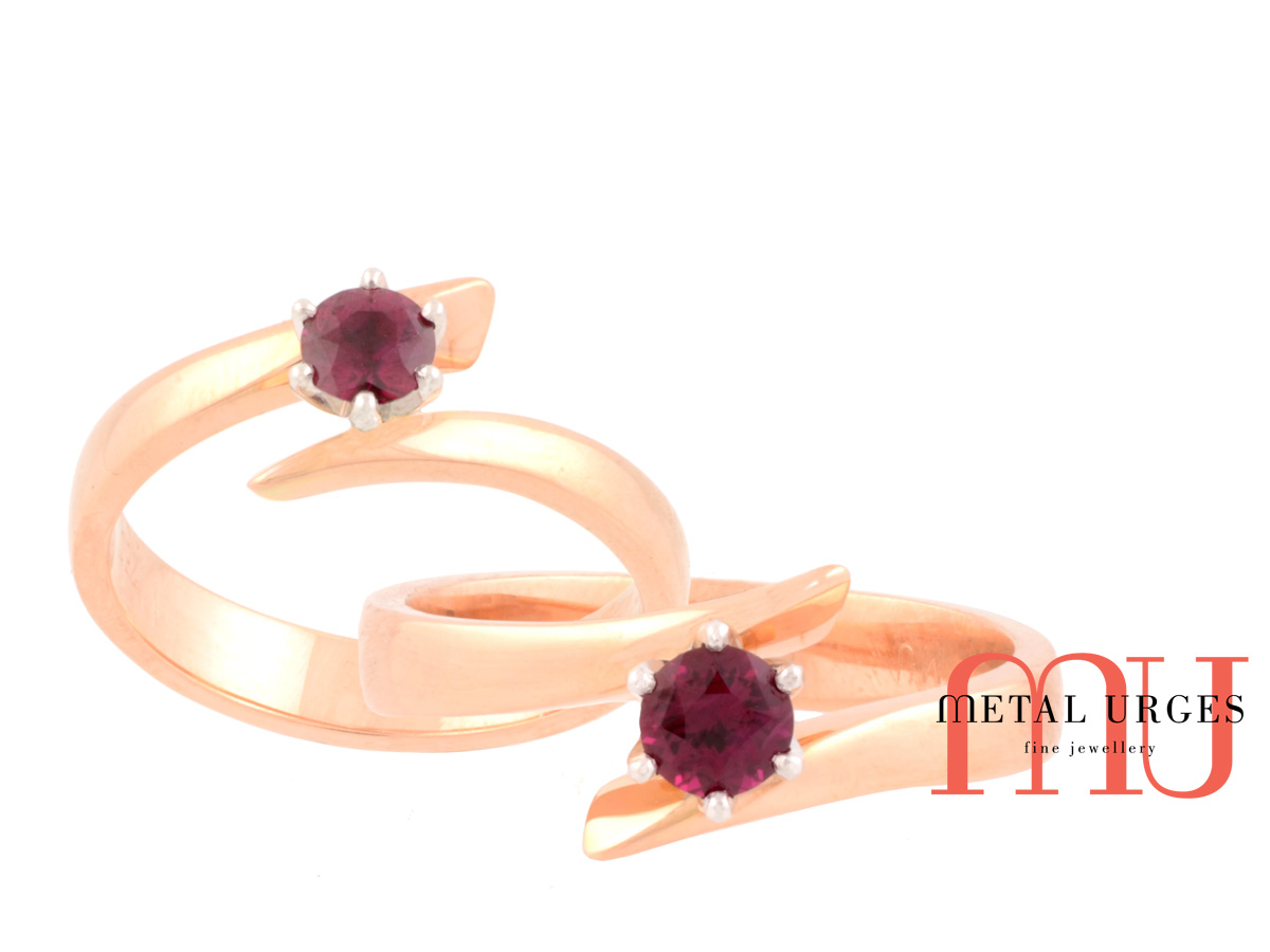 Unusual Ruby Wedding Gifts: Solitaire Ruby Ring In A Unique Setting. 18ct Rose And