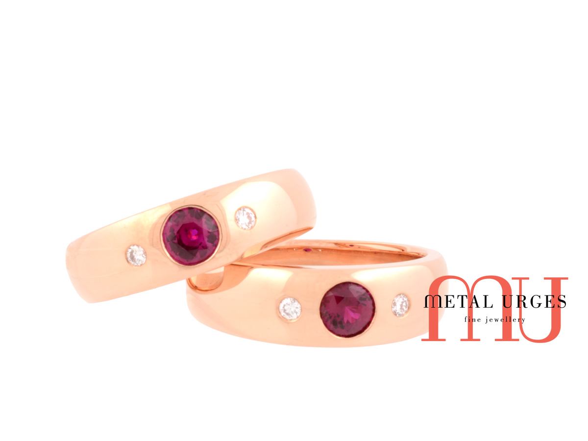 Ruby and white diamond engagement ring in 18ct rose gold.  Custom made in Hobart.