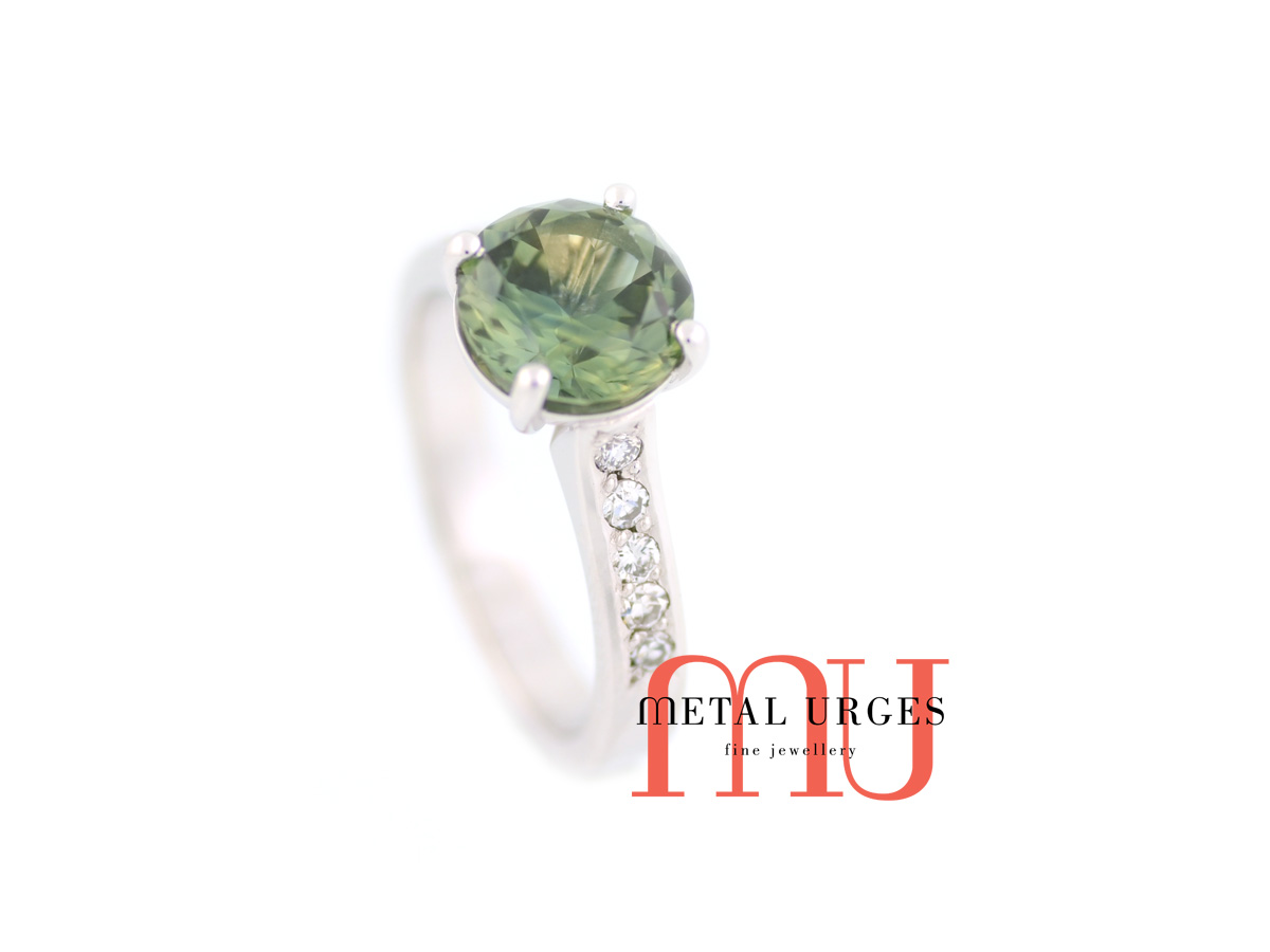 Natural green and yellow parti sapphire and white diamond engagement ring in 18ct white gold. Custom made in Australia.