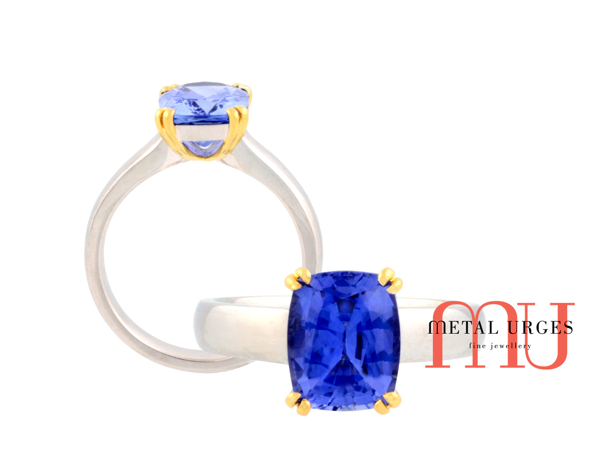 Vibrant blue sapphire and 18ct gold ring. Custom made in Australia.