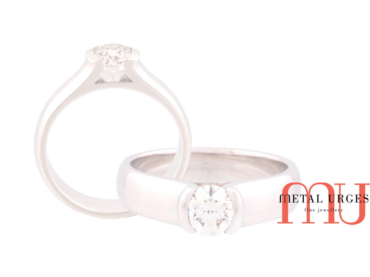 White diamond brilliant cut engagement ring in 18ct white gold.  Hand made in Hobart.
